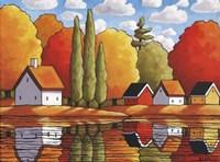 Fall Water Cabin Reflections Fine-Art Print