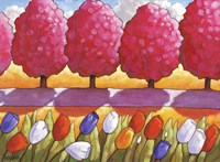 Pink Trees Path & Tulips Fine-Art Print