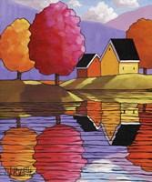 Purple Mountains Colorful Trees & Cottages Fine-Art Print