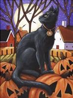Moon Cat & Pumpkins Fine-Art Print