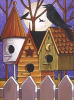Moon Crows Houses Fine-Art Print