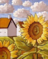 Sunflower & Cottages Scenic View Fine-Art Print