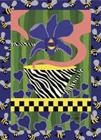 Irises And Buzzy Bees Fine-Art Print