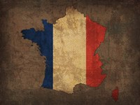 France Country Flag Map Fine-Art Print