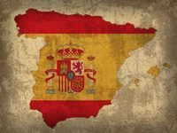 Spain Country Flag Map Fine-Art Print