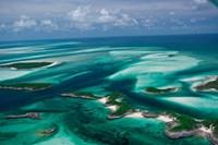 Aerial View of Island in Caribbean Sea, Great Exuma Island, Bahamas Fine-Art Print