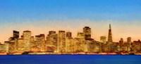 Illuminated Cityscape at the Waterfront, San Francisco Bay, California Fine-Art Print