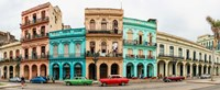 Cars in Front of Colorful Houses, Havana, Cuba Fine-Art Print
