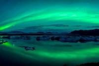 Aurora Borealis or Northern Lights over Jokulsarlon Lagoon, Iceland Fine-Art Print