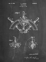 Chalkboard Ship Steering Wheel Patent Fine-Art Print