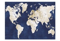 World Map Navy Gold Fine-Art Print