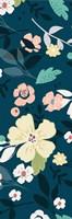 Folksy Floral Scatter BLue&Grey Fine-Art Print