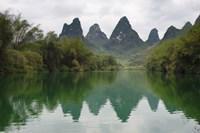 Karst Hills with Longjiang River, Yizhou, Guangxi Province, China Fine-Art Print
