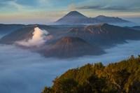 Mt Bromo and Mt Merapi, East Java, Indonesia Fine-Art Print