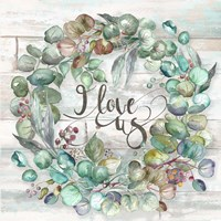 Eucalyptus Wreath on shiplap Fine-Art Print