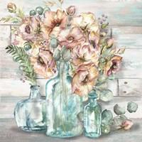 Blush Poppies and Eucalyptus Still Life Fine-Art Print