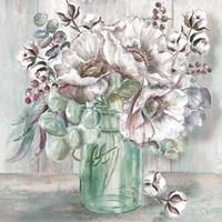 Blush Poppies and Eucalyptus in Mason Jar Fine-Art Print