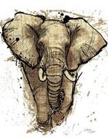 Gold Africa I on White Crop Fine-Art Print