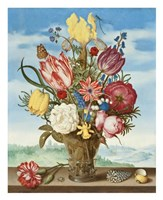 Ambrosius Bosschaert, Bouquet of Flowers on a Ledge Fine-Art Print