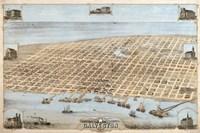 Map Of Galveston Texas 1871 Fine-Art Print