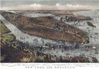 Map Of New York And Brooklyn 1875 Fine-Art Print