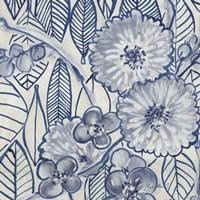 Indigo Leaves And Florals 1 Fine-Art Print