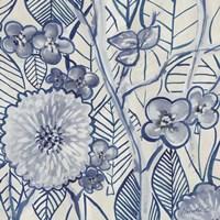 Indigo Leaves And Florals 2 Fine-Art Print