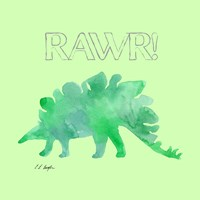 Green Stegosaurus - Green Background Fine-Art Print