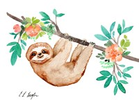 Little Brown Sloth with Flowers Fine-Art Print