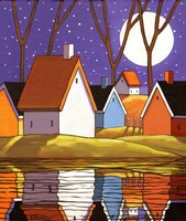 Purple Sky and Stars Cottages Fine-Art Print