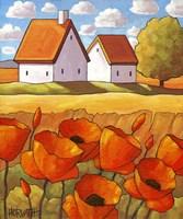 Red Flower Fields Landscape Fine-Art Print
