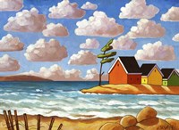 Waves and Colorful Cabins Beach Fine-Art Print