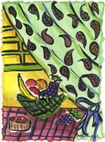 Fruit Bowl and Paisly Curtain Fine-Art Print