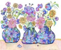 Three Cobalts With Wildflowers Fine-Art Print