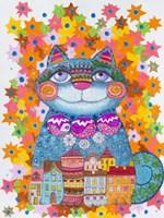 Blue Christmas Cat Fine-Art Print