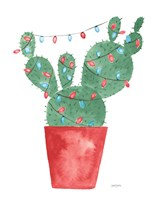 A Very Cactus Christmas III Dark Green Fine-Art Print