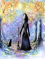 Witch and Black Cat Fine-Art Print