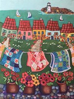 Rosey Roofed Cottages and Quilts Fine-Art Print