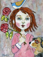 Bird Headed Girl with Nearsighted Dog Fine-Art Print