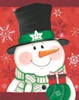 Snowman with Gift Fine-Art Print
