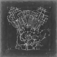 Motorcycle Engine Blueprint I Fine-Art Print