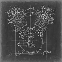 Motorcycle Engine Blueprint II Fine-Art Print