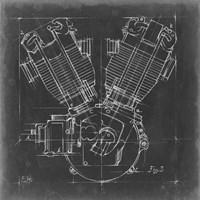 Motorcycle Engine Blueprint III Fine-Art Print