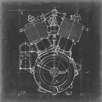 Motorcycle Engine Blueprint IV Fine-Art Print