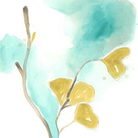 Teal and Ochre Ginko I Fine-Art Print