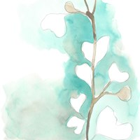 Teal and Ochre Ginko III Fine-Art Print