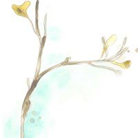 Teal and Ochre Ginko IV Fine-Art Print