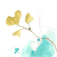 Teal and Ochre Ginko V Fine-Art Print