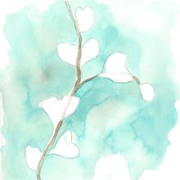 Teal and Ochre Ginko VII Fine-Art Print