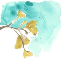 Teal and Ochre Ginko VIII Fine-Art Print